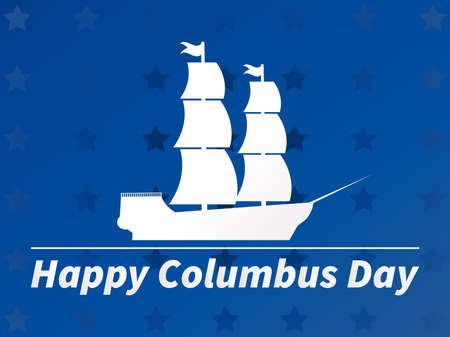 Happy Columbus Day. White outline of a sailing ship against a blue background with stars. Vector illustration