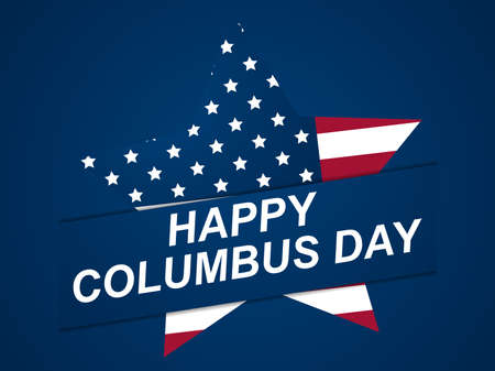 Happy Columbus Day. Discoverer of America. Greeting card design with star and the national flag of the United States. Vector illustration 일러스트