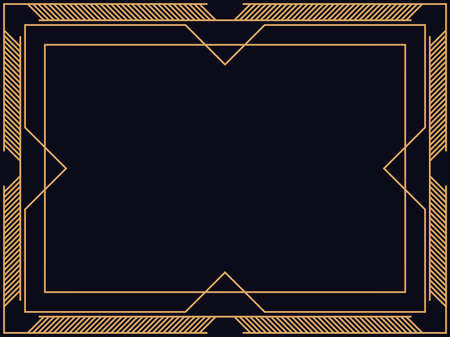 Art deco frame. Vintage linear border. Design a template for invitations, leaflets and greeting cards. The style of the 1920s - 1930s. Vector illustration