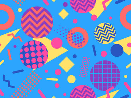 Seamless pattern with geometric shapes in the style of the 80s. Trendy retro background for printing on paper, advertising materials and fabric. Vector illustration