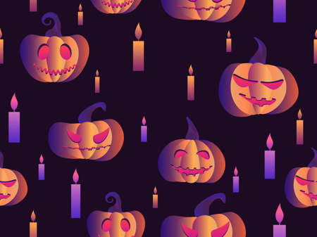 Spooky pumpkins and candles seamless pattern. Halloween festive background for wrapping paper, print, fabric and printing. Vector illustration