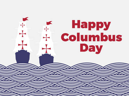 Happy Columbus Day. Discoverer of America. Sailing ship sails on waves of striped ribbons. Paper cut style. Vector illustration