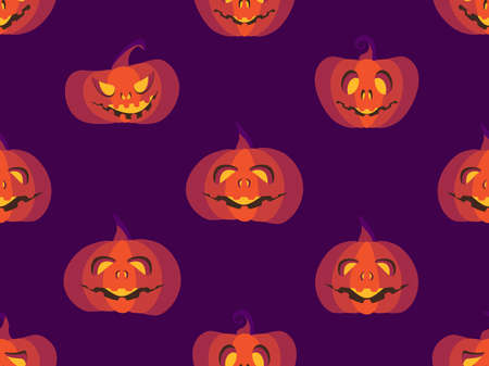 Halloween seamless pattern with scary pumpkins. Halloween background with creepy pumpkins for wrapping paper, print, fabric and printing. Vector illustration
