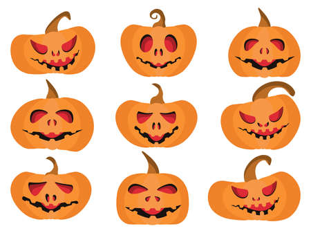 Pumpkins for halloween set isolated on white background. Scary and smiling pumpkins. Vector illustration