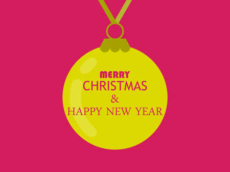 Merry Christmas and happy New Year. Hanging yellow Christmas ball on a red background. Festive design for greeting cards and banner. Vector illustration