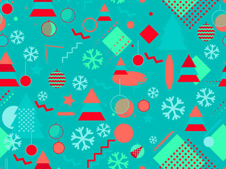 Christmas seamless pattern with Christmas decorations and geometric shapes in 80s style. Festive background for greeting cards, wrapping paper and banners. Vector illustration