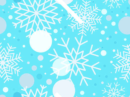 Christmas seamless pattern snowflakes. Winter holidays background with falling snow for greeting cards and poster. Christmas snowfall. Vector illustration