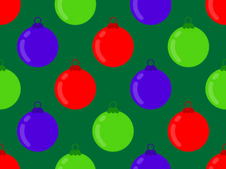 Christmas Balls seamless pattern. Christmas ornaments for greeting cards, wrapping paper, banners and posters. Vector illustration