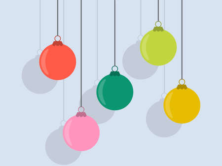 Hanging Christmas balls with shadow in retro style. Christmas ornaments for greeting cards, wrapping paper, banners and posters. Vector illustration