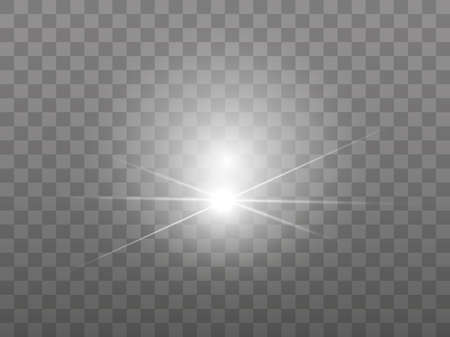 Bright rays of light on a transparent background. Transparent spheres of light. Glow light effect. White sparks glitter. Vector illustration