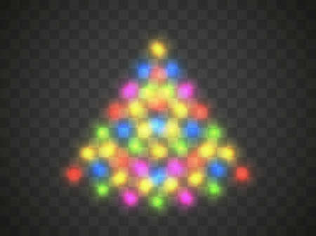 Christmas tree light on a transparent background. Transparent lights in Christmas colors in the shape of a Christmas tree. Vector illustration
