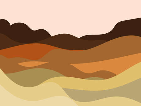 Natural landscape in a minimalistic style. Plains and mountains, fields and meadows. Boho decor for prints, posters and interior design. Mid Century modern decor. Vector illustration