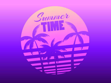 Palm trees against a gradient sun in the style of the 80s. Synthwave and retrowave style. Violet color. Design for advertising brochures, banners, posters, travel agencies. Vector illustration