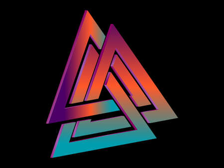 Valknut 3d isometric symbol with gradient. Symbol of Old Norse mythology. Interlaced triangles. Vector illustration