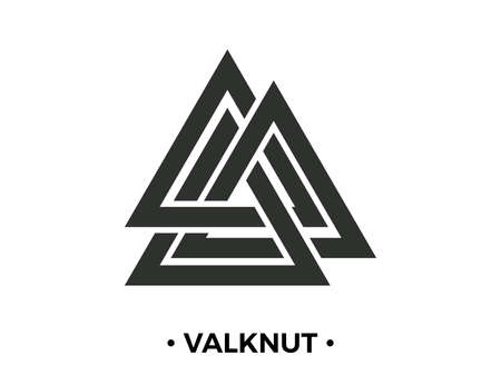 Valknut is a nordic symbol, an interweaving of three worlds. Sign of the god Odin. Norse culture. Viking symbol. Valknut isolated on white background. Vector illustration