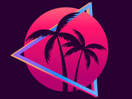 80s retro sci-fi palm trees on a sunset. Retro futuristic sun with palm trees. Synthwave and retrowave style. Design for advertising brochures, banners, posters, travel agencies. Vector illustration Illusztráció