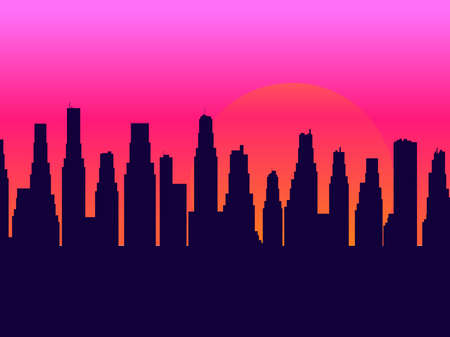 Evening cityscape with skyscrapers. Sunset landscape, city view in a flat style. Contour of skyscrapers, panorama of the city. Vector illustration