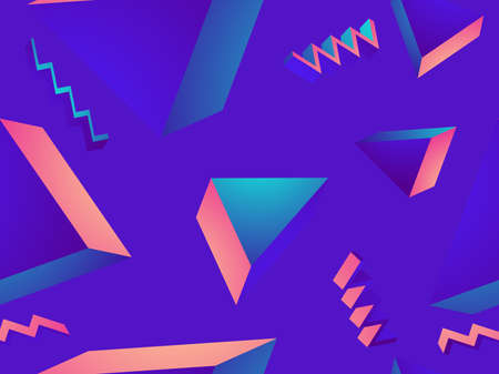 Geometric seamless pattern in 80s style with memphis elements. Gradient shape. Synthwave retro background for printing on paper, advertising materials and fabric. Vector illustration