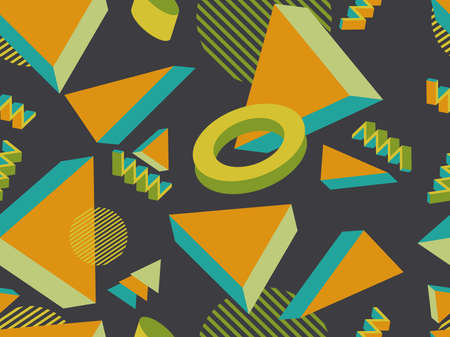 Geometric memphis seamless pattern in style of the 80s. Modern trendy background with 3d objects, virtual reality for promotional products, wrapping paper and printing. Vector illustration
