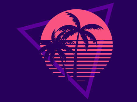 Two palm trees against a sun in the style of the 80s. Synthwave and retrowave. Design for advertising brochures, banners, posters, travel agencies. Vector illustration Illusztráció