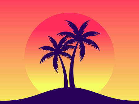 Palm trees against a gradient sun in the style of the 80s. Synthwave and retrowave style. Orange color. Design for advertising brochures, banners, posters, travel agencies. Vector illustration