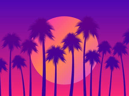 Tropical sunset with palms and gradient sun in 80s style. Design for advertising brochures, banners, posters, travel agencies. Vector illustration