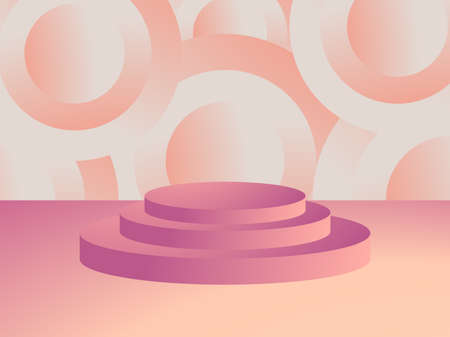 3d podium in a minimalistic style with geometric shapes. Gradient podium for product presentation. Advertising pedestal, layout. Vector illustration