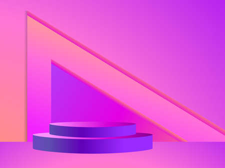 Stage with a podium in the style of the 80s. Gradient podium for product presentation in retro style. 3d platform studio. Advertising pedestal, mockup. Vector illustration Illusztráció