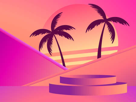 Stage with a podium in the style of the 80s. Palm trees and retro sunset. Gradient podium for product presentation in retro style. Advertising pedestal, mockup. Vector illustration