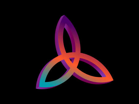 Triquetra 3d isometric symbol with gradient isolated on white background. Trinity or trefoil knot. Celtic symbol of eternity. Vector illustration