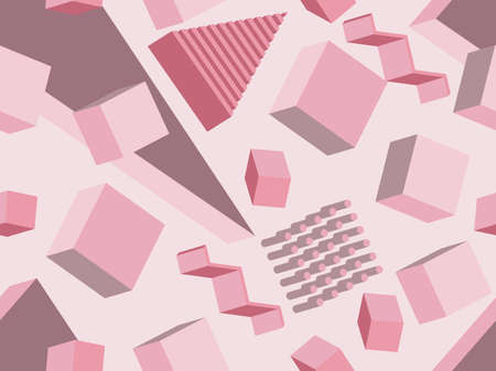 Geometric seamless pattern in memphis style with 3d geometric shapes. Isometric geometry in the style of the 80s for promotional products, wrapping paper and printing. Vector illustration Vectores