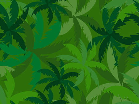 Green palm leaves seamless pattern. Summer tropical background for promotional materials, fabric prints, banners and posters. Vector illustration Vectores
