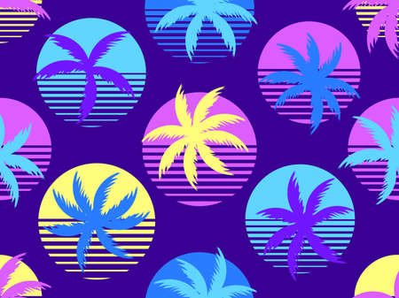 Palm tree and sun 80s style seamless pattern. Retro futuristic sun with palm leaves. Summer time. Synthwave and retrowave style. Vector illustration