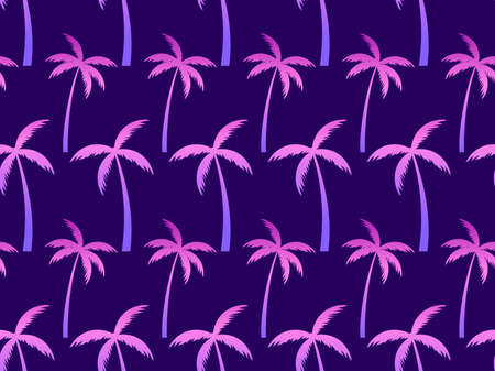 Palm trees seamless pattern, violet gradient color. Tropical jungle, exotic background for advertising, postcards, poster and banner. Vector illustration Vectores