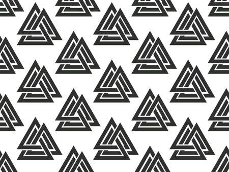 Valknut seamless pattern. Nordic symbol, an interweaving of three worlds. Sign of god Odin. Norse culture. Viking symbol for printing on paper, banner and advertising material. Vector illustration