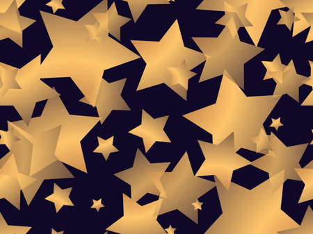 Golden stars seamless pattern. Trendy background with translucent gold stars on a black background. For banners and posters, wrapping paper and promotional items. Vector illustration Vectores