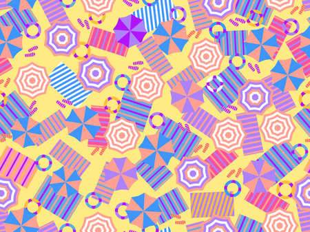 Beach seamless pattern, top view for towels and umbrellas, lifebuoys and beach slippers. Summer beach background in flat style. Vector illustration