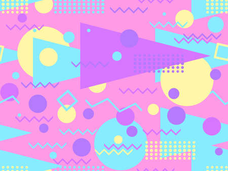 Memphis seamless pattern. Geometric elements memphis in the style of 80's. Trendy retro background for printing on paper, advertising materials and fabric. Vector illustration
