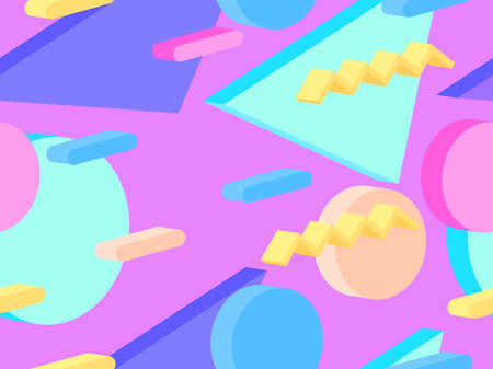 Memphis seamless pattern with 3d isometric geometric shapes in the style of the 80s. Background for promotional products, wrapping paper and printing. Vector illustration