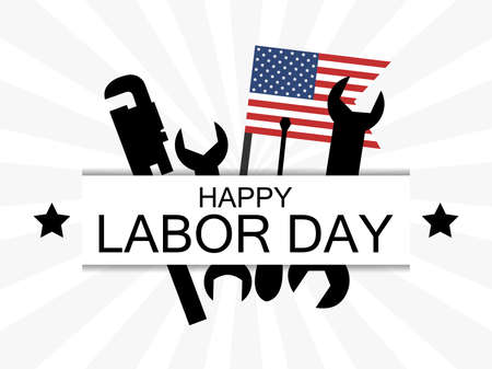 Happy Labor Day. USA national flag and working tools. Wrench and screwdriver. Design of advertising materials, banner and poster. Vector illustration