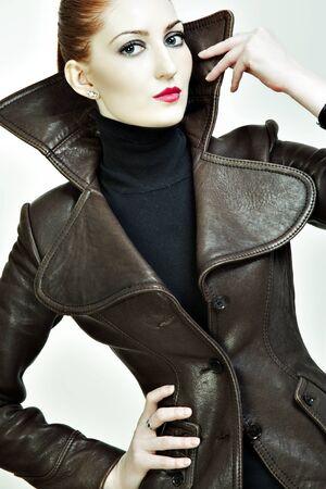 walling: Fashion portrait of a beautiful woman in a jacket