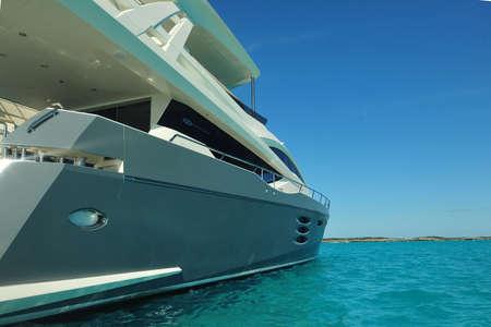 Motor yacht at anchor