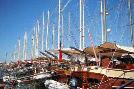 Bodrum harbour side with yacht lined up