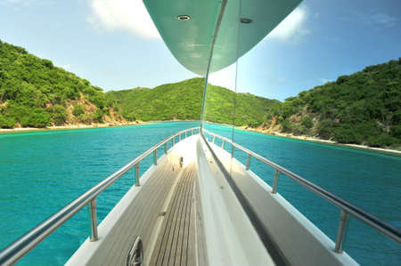 Motor yacht reflection Stock Photo