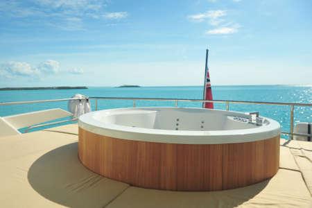 Hot tub on motor yacht