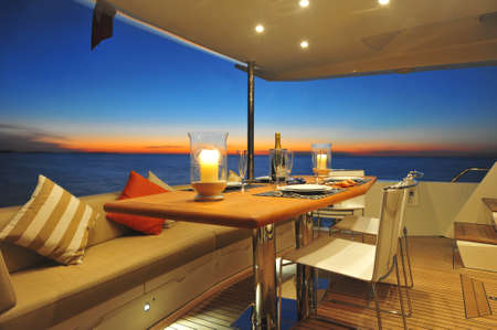 Out dining on motor yacht