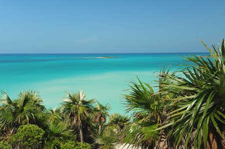Exumas, Bahamas beach scene with azzure waters Stock Photo