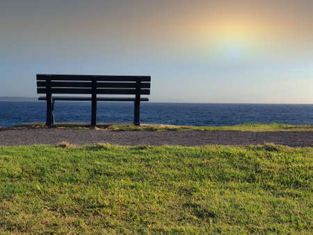 Single bench seat looking out to sea