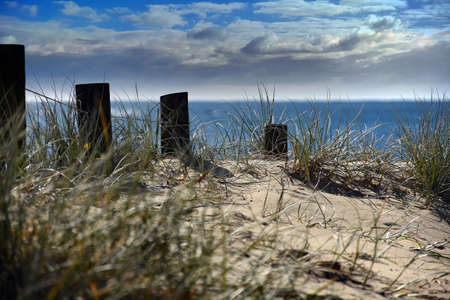 Posts on a pathway leading to the beach Stock Photo