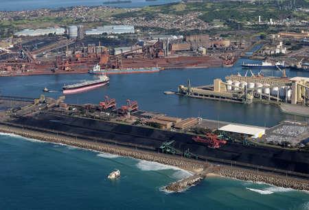 PORT KEMBLA NSW, AUSTRALIA-JUNE 18: Aerial view of Port Kembla Outer Harbour including the Bluescope Steel plant near Wollongong NSW Australia. 18 June 2011 Australia